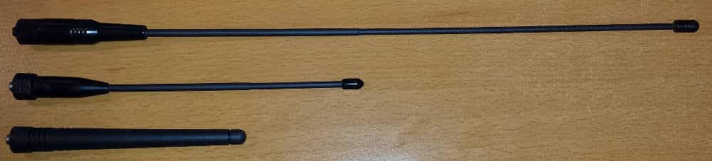 "Top: ExpertPower 14.5"" Dual Band Antenna; Middle: ExpertPower 7.5"" Dual Band Antenna; Bottom: Stock Baofeng 5"" Antenna"