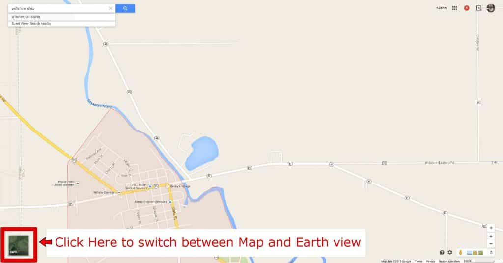 toggle between google maps and google earth