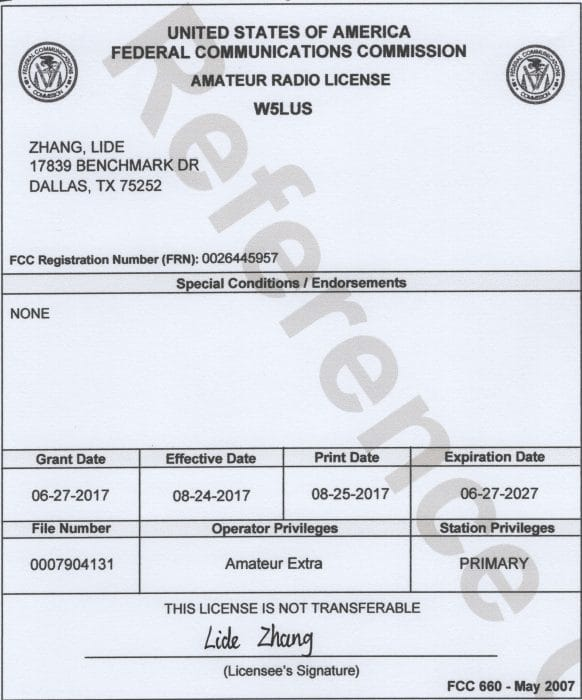 USA_FCC_Amateur_Radio_License
