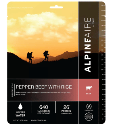 AlpineAire Foods Pepper Beef with Rice Dehydrated Food